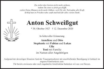 Traueranzeige von Anton Schweißgut von merkurtz