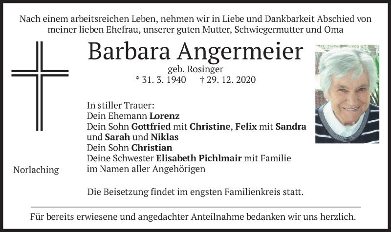 Traueranzeige für Barbara Angermeier vom 31.12.2020 aus merkurtz