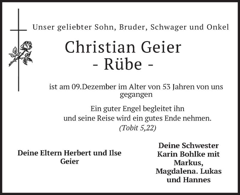 Traueranzeige für Christian Geier vom 22.12.2020 aus merkurtz