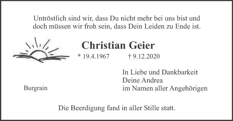 Traueranzeige für Christian Geier vom 19.12.2020 aus merkurtz