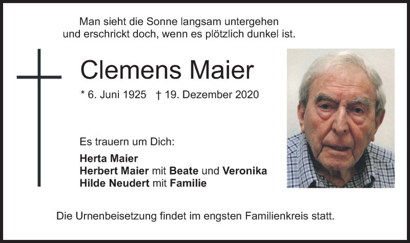 Traueranzeige für Clemens Maier vom 23.12.2020 aus merkurtz