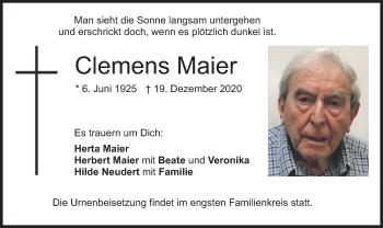Traueranzeige von Clemens Maier von merkurtz