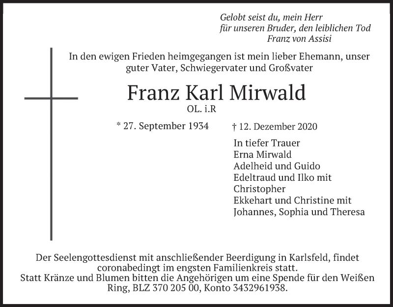 Traueranzeige für Franz Karl Mirwald vom 16.12.2020 aus merkurtz