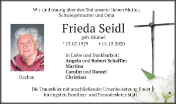 Traueranzeige von Frieda Seidl von merkurtz