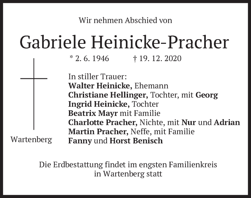 Traueranzeige für Gabriele Heinicke-Pracher vom 22.12.2020 aus merkurtz