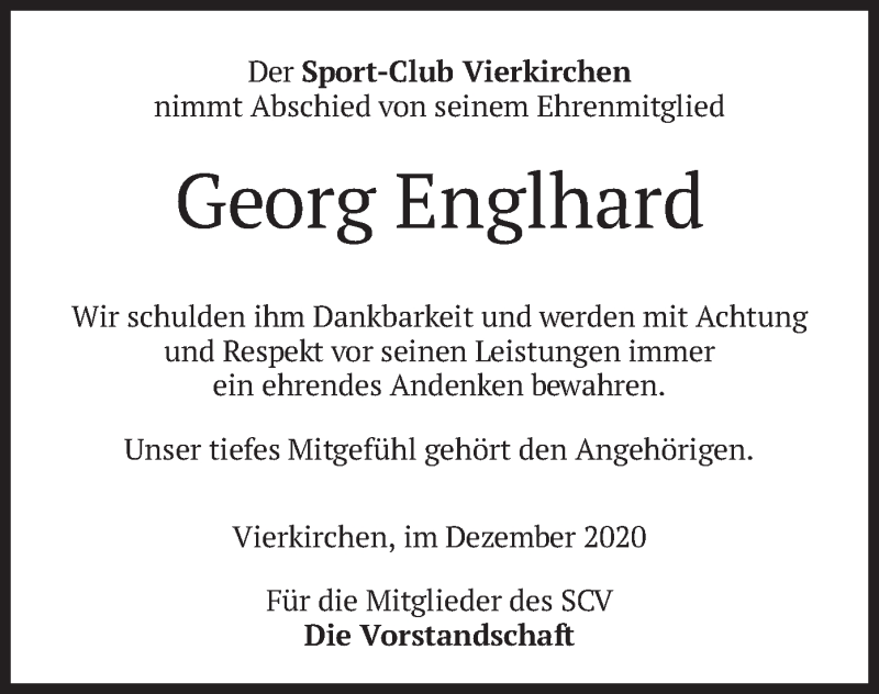 Traueranzeige für Georg Englhard vom 24.12.2020 aus merkurtz
