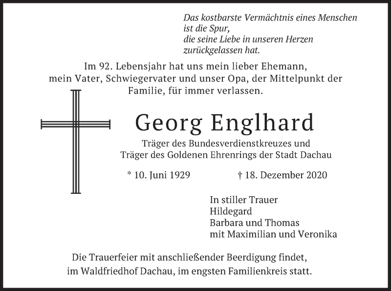 Traueranzeige für Georg Englhard vom 22.12.2020 aus merkurtz
