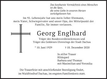Traueranzeige von Georg Englhard von merkurtz