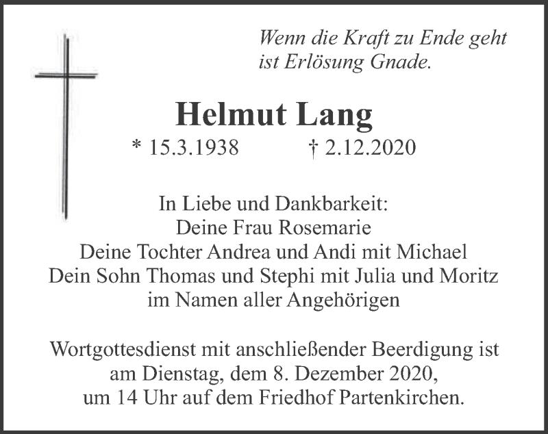 Traueranzeige für Helmut Lang vom 05.12.2020 aus merkurtz