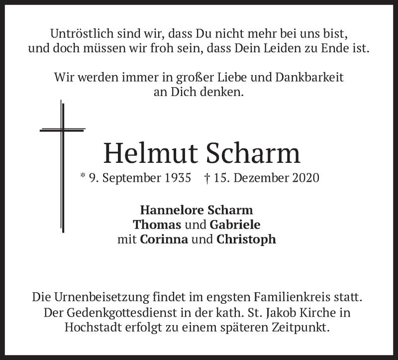 Traueranzeige für Helmut Scharm vom 21.12.2020 aus merkurtz