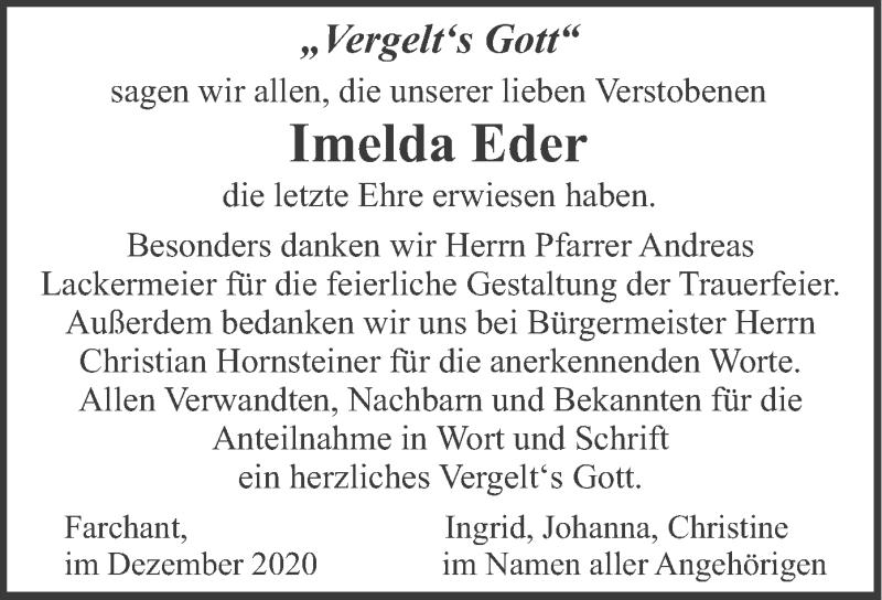 Traueranzeige für Imelda Eder vom 05.12.2020 aus merkurtz