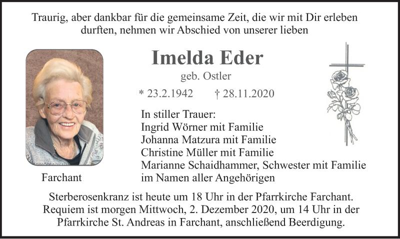 Traueranzeige für Imelda Eder vom 01.12.2020 aus merkurtz