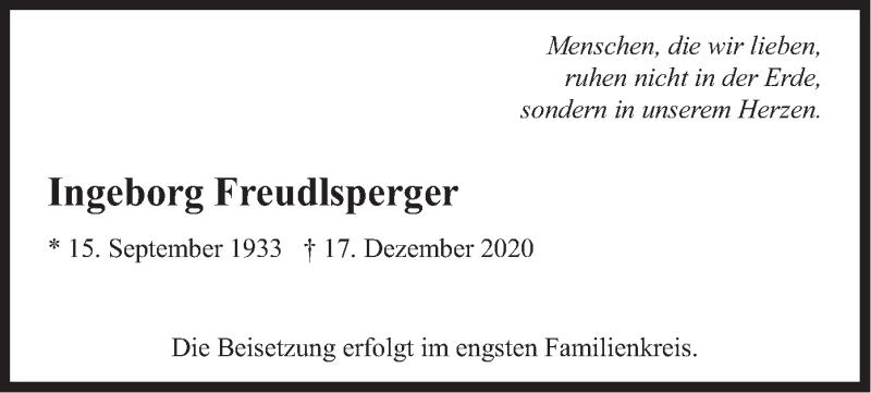 Traueranzeige für Ingeborg Freudlsperger vom 24.12.2020 aus merkurtz