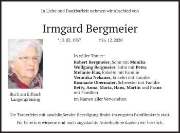 Traueranzeige von Irmgard Bergmeier von merkurtz