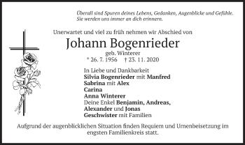 Traueranzeige von Johann Bogenrieder von merkurtz