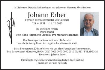 Traueranzeige von Johann Erber von merkurtz