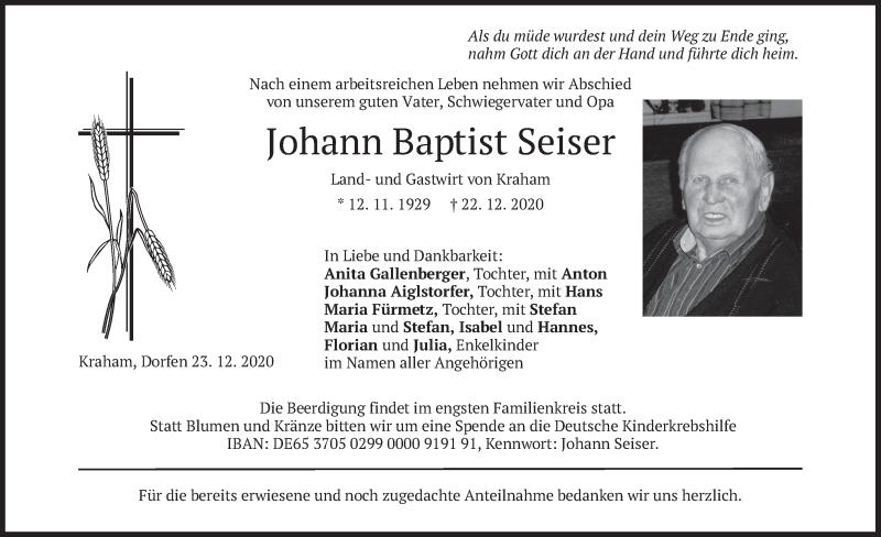 Traueranzeige für Johann Baptist Seiser vom 28.12.2020 aus merkurtz