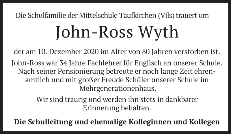 Traueranzeige für John-Ross Wyth vom 15.12.2020 aus merkurtz