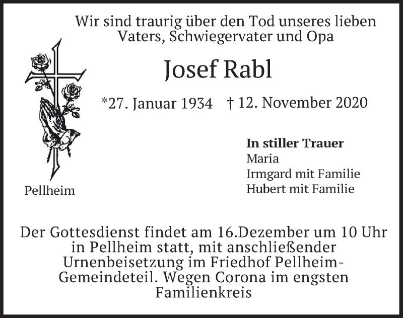 Traueranzeige für Josef Rabl vom 12.12.2020 aus merkurtz
