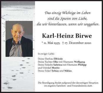 Traueranzeige von Karl-Heinz Birwe von merkurtz