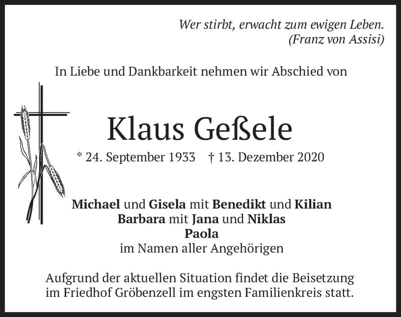 Traueranzeige für Klaus Geßele vom 15.12.2020 aus merkurtz
