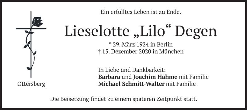 Traueranzeige für Lieselotte Degen vom 19.12.2020 aus merkurtz