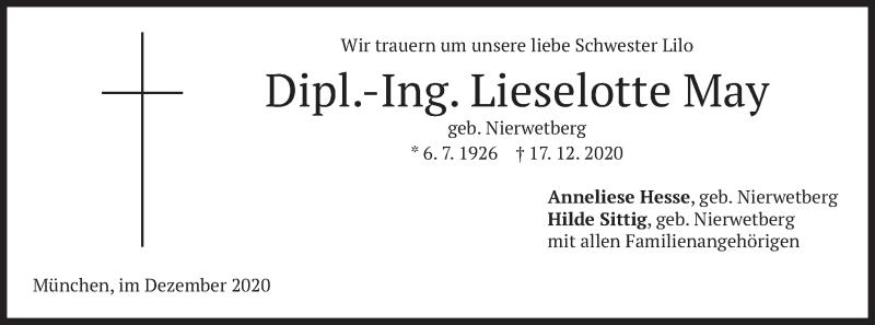 Traueranzeige für Lieselotte May vom 24.12.2020 aus merkurtz