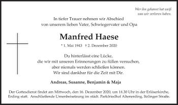 Traueranzeige von Manfred Haese von merkurtz