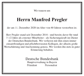 Traueranzeige von Manfred Pregler von merkurtz