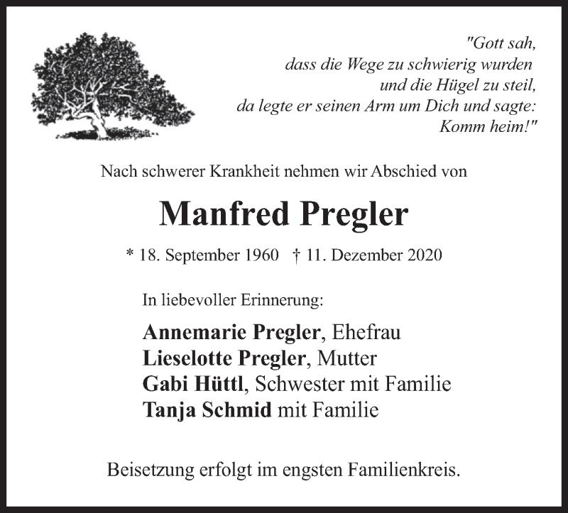 Traueranzeige für Manfred Pregler vom 21.12.2020 aus merkurtz