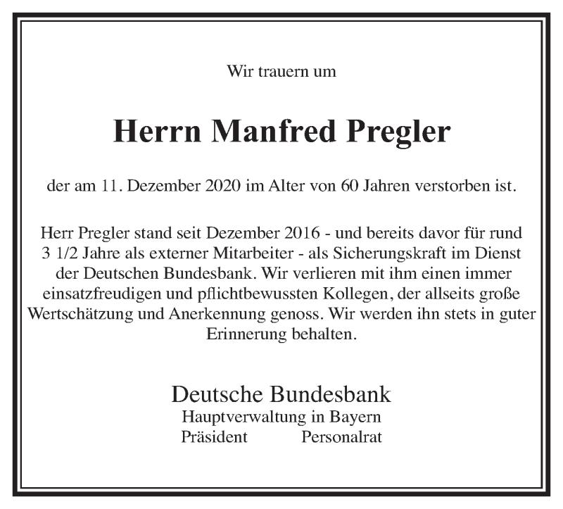 Traueranzeige für Manfred Pregler vom 19.12.2020 aus merkurtz