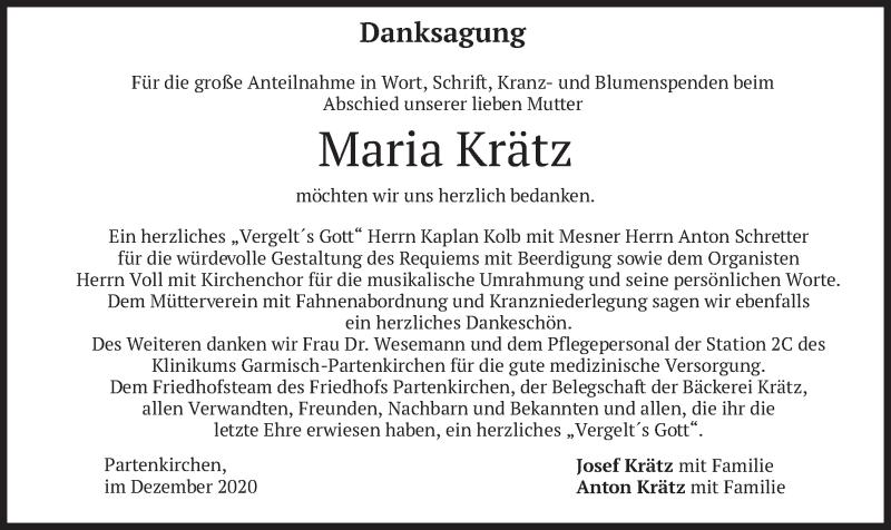 Traueranzeige für Maria Krätz vom 05.12.2020 aus merkurtz