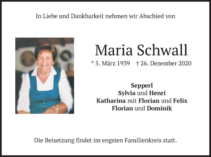 Traueranzeige für Maria Schwall vom 31.12.2020 aus merkurtz
