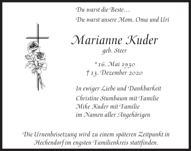 Traueranzeige für Marianne Kuder vom 19.12.2020 aus merkurtz