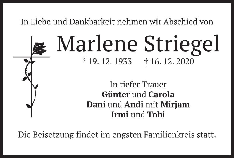 Traueranzeige für Marlene Striegel vom 24.12.2020 aus merkurtz