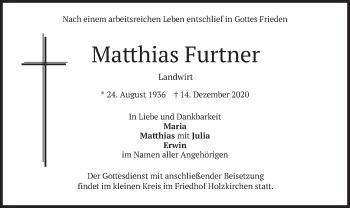 Traueranzeige von Matthias Furtner von merkurtz