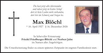Traueranzeige von Max Blöchl von merkurtz