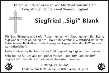 Traueranzeige von Siegfried Blank von merkurtz