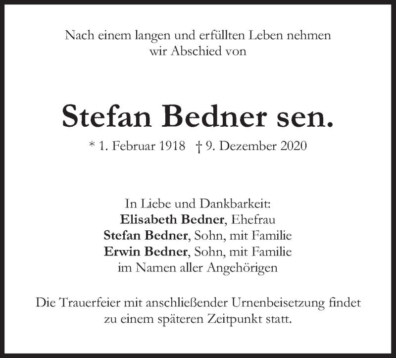 Traueranzeige für Stefan Bedner vom 12.12.2020 aus merkurtz