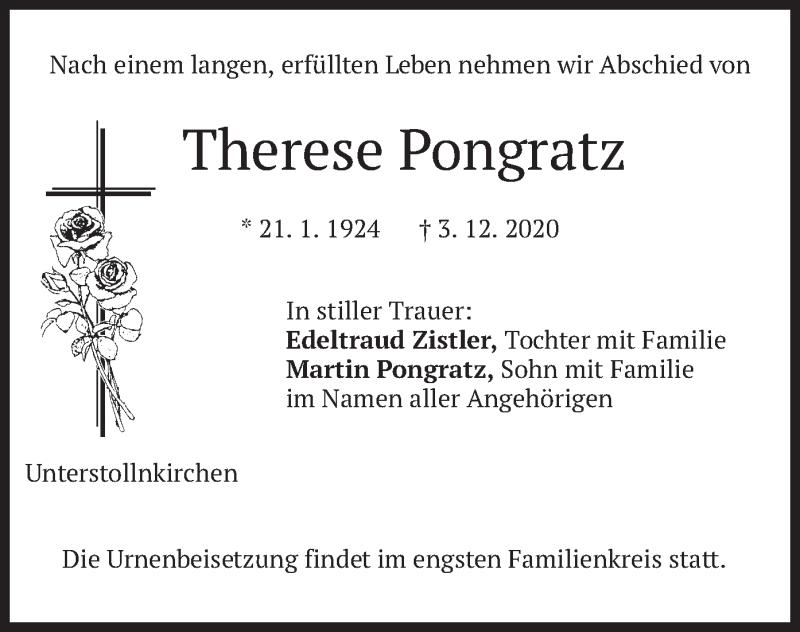 Traueranzeige für Therese Pongratz vom 05.12.2020 aus merkurtz