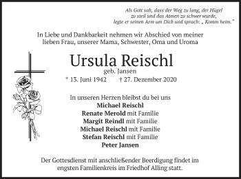 Traueranzeige von Ursula Reischl von merkurtz