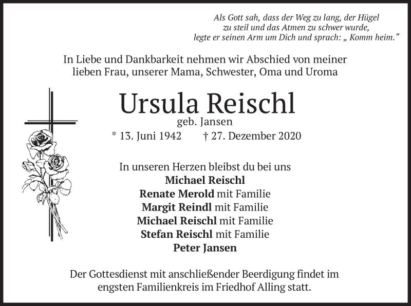 Traueranzeige für Ursula Reischl vom 30.12.2020 aus merkurtz