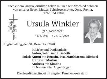 Traueranzeige von Ursula Winkler von merkurtz