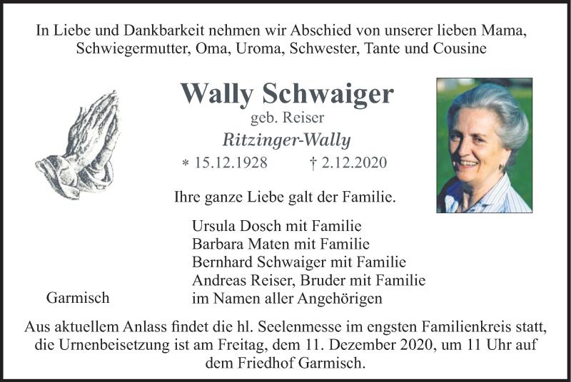 Traueranzeige für Wally Schwaiger vom 08.12.2020 aus merkurtz