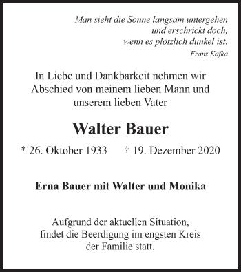 Traueranzeige von Walter Bauer von merkurtz
