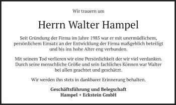Traueranzeige von Walter Hampel von merkurtz