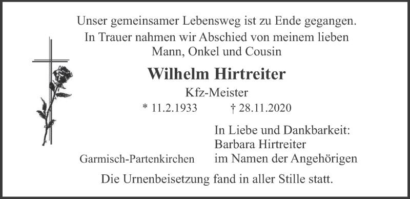 Traueranzeige für Wilhelm Hirtreiter vom 09.12.2020 aus merkurtz