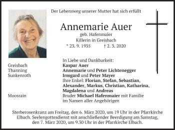 Traueranzeige von Annemarie Auer von merkurtz