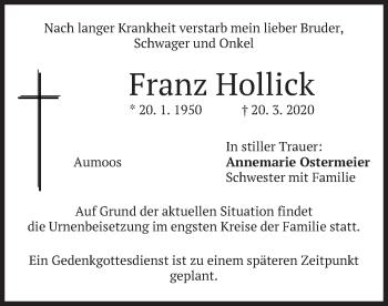 Traueranzeige von Franz Hollick von merkurtz