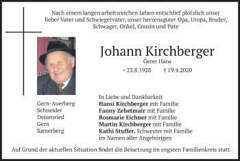 Traueranzeige von Johann Kirchberger von merkurtz
